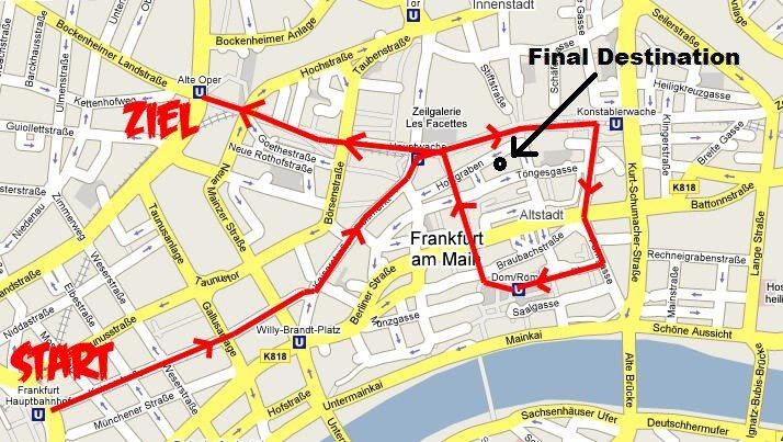 Innenstadtkarte mit voraussichtlicher Route